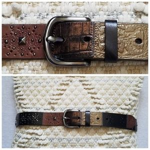 Nwt Fossil leather belt patchwork beads rivets L